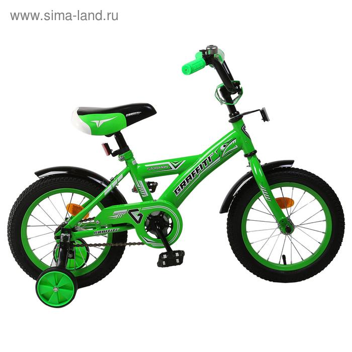 """Велосипед 14"""" Graffiti Storman RUS, цвет зелёный"""