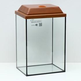 Аквариум колонна с крышкой, 36 литров, 32 х 25 х 45/50,5 см, вишня