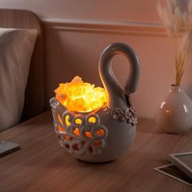 """Соляная лампа """"Лебедь"""", керамическое основание, 25 см, 2-3 кг"""