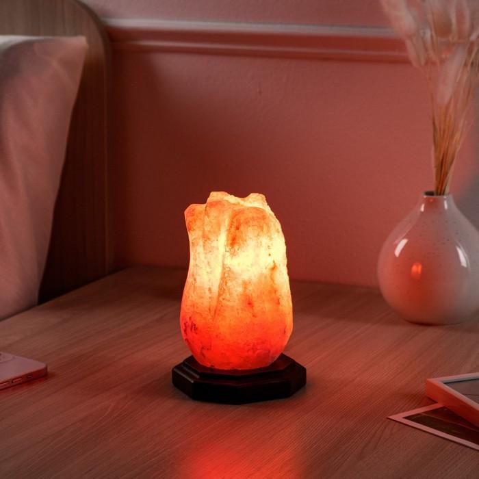 "Соляная лампа ""Тюльпан малый"", цельный кристалл, 15 см, 1,5 кг"
