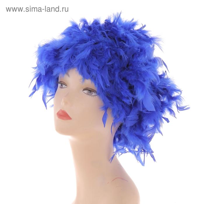 Карнавальный парик перьевой 40 гр, цвет синий