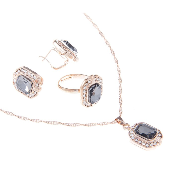 """Гарнитур 3 предмета: серьги, кулон, кольцо безразмерное """"Эдель"""" овал, цвет серый"""