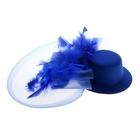Карнавальный зажим шляпка и вуалетка перья, цвет синий