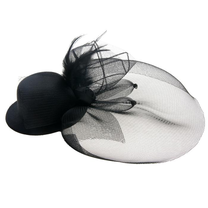 Карнавальный зажим шляпка и вуалетка, цвет черный