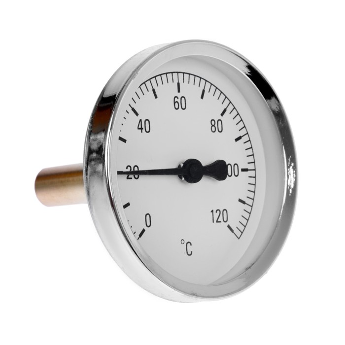 Термометр биметаллический осевой, диапазон температур 0-120 гр.С., стальной корпус, класс точности 1