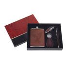 Набор 4в1 (фляжка 240 мл+брелок+нож 7в1+ручка), тиснение Орёл, коричневый, 17х20 см УЦЕНКА 27886