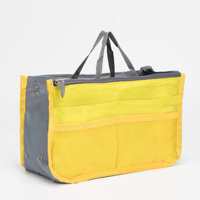 Косметичка дорожная на молнии, 3 отдела, 10 карманов, цвет жёлтый
