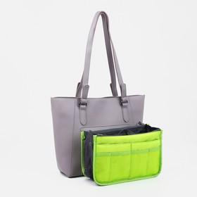 Косметичка дорожная на молнии, 3 отдела, 10 карманов, цвет зелёный - фото 1765322