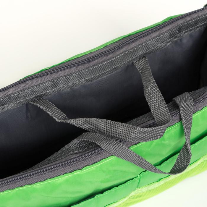 Косметичка дорожная на молнии, 3 отдела, 10 карманов, цвет зелёный