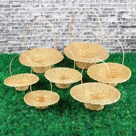 Набор корзин «Шляпки», с ручкой, 7 шт, от 27×8,5 см, бамбук
