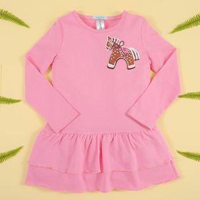 """Платье для девочки KAFTAN """"Лошадка"""" (П1), рост 98-104 (30), 3-4 года, цвет розовый, хлопок 100%"""