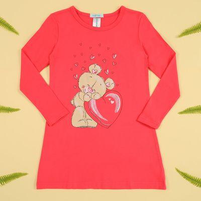 """Платье-туника KAFTAN """"Мишка"""" (П2), рост 122-128 (34), 7-8 лет, цвет розовый, 100% хлопок"""