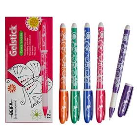"""Ручка гелевая Beifa """"Узоры"""", узел 0.5мм, чернила чёрные, резиновый упор, микс"""