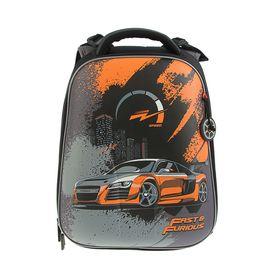 Рюкзак каркасный Hummingbird T 39 х 28 х 20 см, для мальчика, «Машина», чёрный/оранжевый