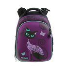 Рюкзак каркасный Hummingbird 37.5*29*19 для девочки «Кошка», фиолетовый 71Т