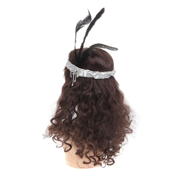 """Повязка на голову """"Ретро"""" с перьями и бусинами"""