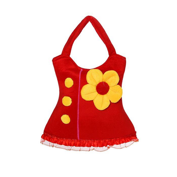 Мягкая сумочка в виде сарафанчика с цветком, цвета МИКС