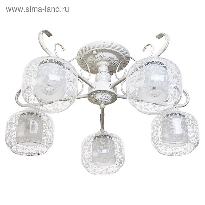 "Люстра ""Лейла"" 5 ламп 60Вт Е14 золото-белый 52х52х20"