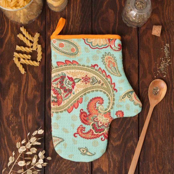 """Варежка-прихватка """"Доляна"""" Индийский огурец, размер 18х26 см, 100% хлопок, вафельное полотно 162г/м2"""