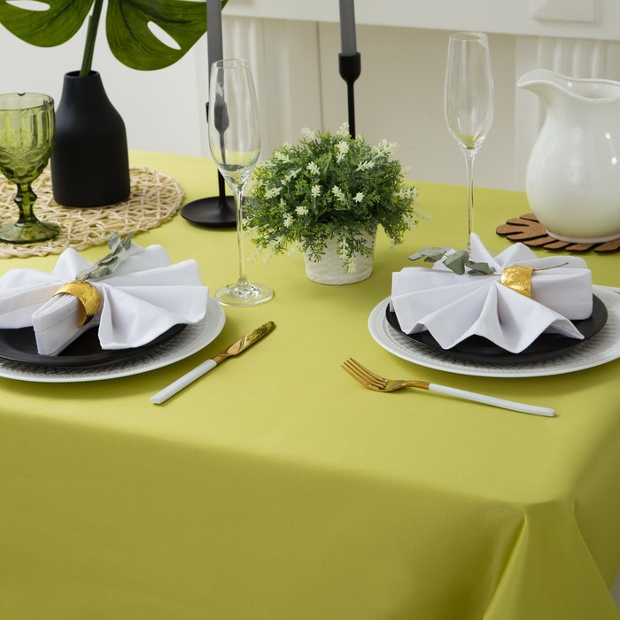"""Скатерть """"Этель"""" 150х250 см, однотонная цвет салатовый, пл. 192 г/м2, хл с ГМО"""