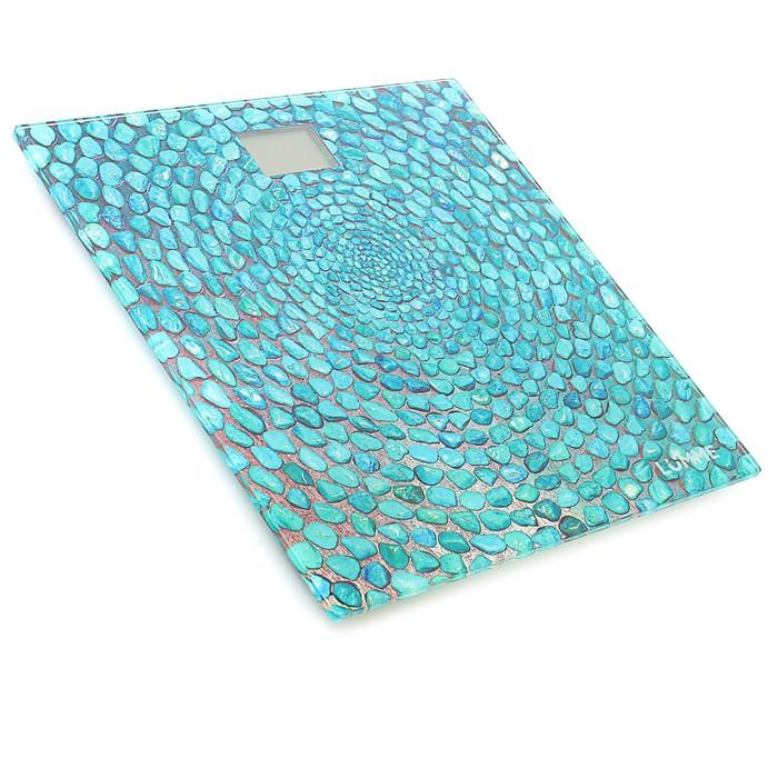 """Весы напольные LUMME LU-1329, электронные, до 180 кг, рисунок """"голубая бирюза"""""""