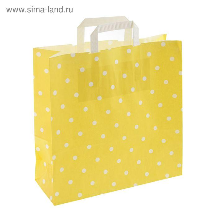 """Пакет крафт """"Горох"""" жёлтый, 32 х 12 х 32 см"""