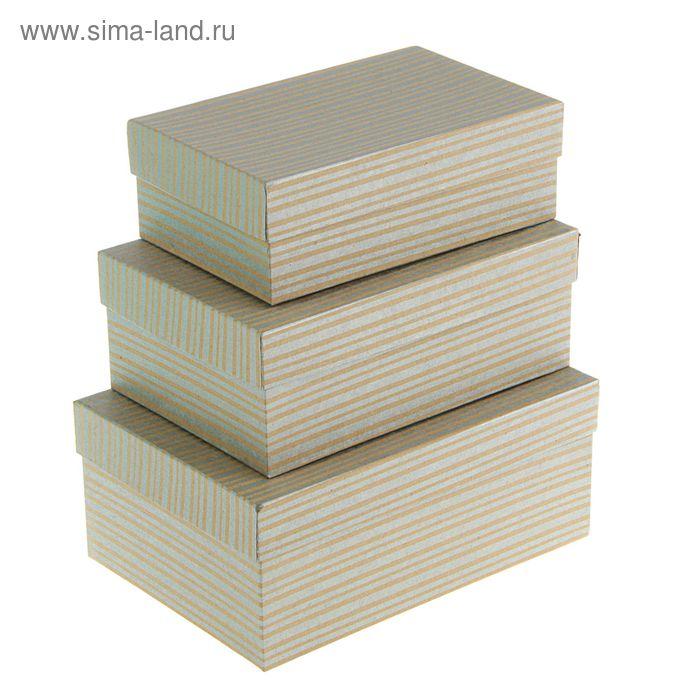 "Набор коробок 3в1 ""Полосы серебряные крафт"", 23 х 16 х 9.5 - 19 х 12 х 6.5 см"