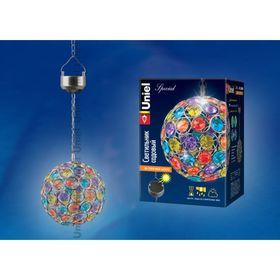 Светильник садовый Uniel, солнечная батарея, подвесной, IP44, A4, 400мАч, цвет радужный Ош