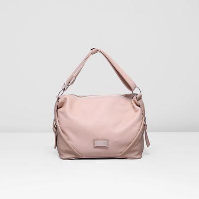 Сумка женская на молнии, 1 отдел, наружный карман, цвет бежево-розовый
