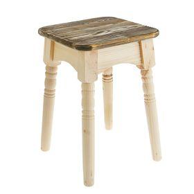 """Табурет """"Классика"""",натуральная сосна сиденье обожжённое брашированное под старину"""