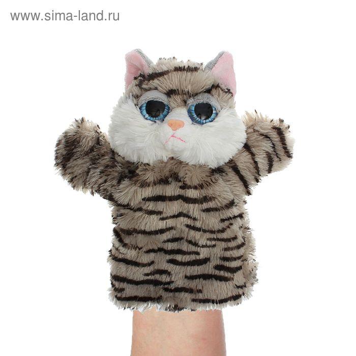 """Мягкая игрушка на руку """"Кошка"""", цвет серый в чёрную полоску"""