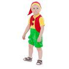 """Карнавальный костюм от 1,5-3-х лет """"Гном в красном жилете"""", велюр, комбинезон, колпак, рост 92-98 см"""