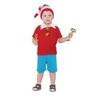 """Карнавальный костюм от 1,5-3-х лет """"Буратино красный"""", велюр, колпак, куртка, штаны, рост 92-98 см"""