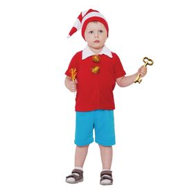 """Carnival costume from 1.5-3 years """"Pinocchio red"""", velour, hood, jacket, pants, height 92-98 cm"""