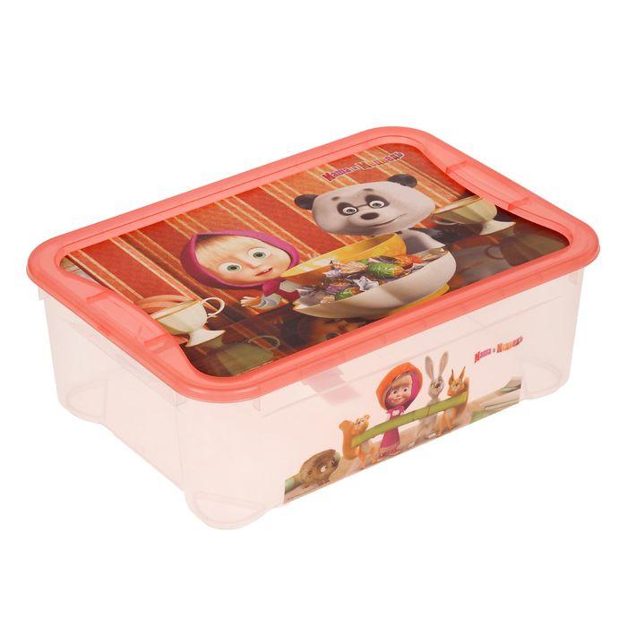 """Ящик для игрушек """"Маша и Медведь"""", коралловый"""
