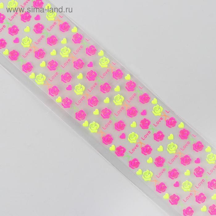 """Слайдер-дизайн для ногтей """"Розы"""", неоновый, цвета МИКС"""