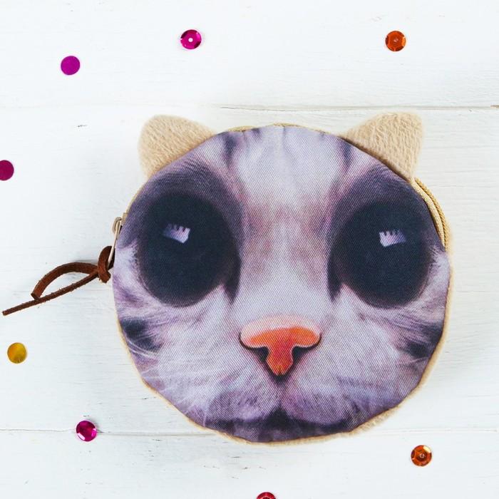 Мягкий кошелёк «Кот», большие глаза