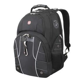 Рюкзак Wenger 15, чёрный/серебристый, полиэстер, 900D/600D/искусственная кожа, 47 x 18 x 34 см, 29 л