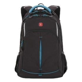 Рюкзак Wenger, чёрный/бирюзовый, фьюжн/2 мм рипстоп, 46 x 15 x 32 см, 22 л