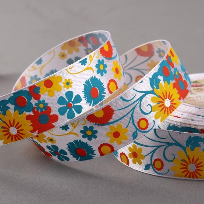 Лента атласная «Цветы», 25 мм × 22 ± 1 м, разноцветная