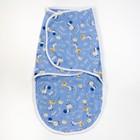Пеленка-кокон на липучках, рост 50-62 см, цвет голубой, принт микс 1139_М