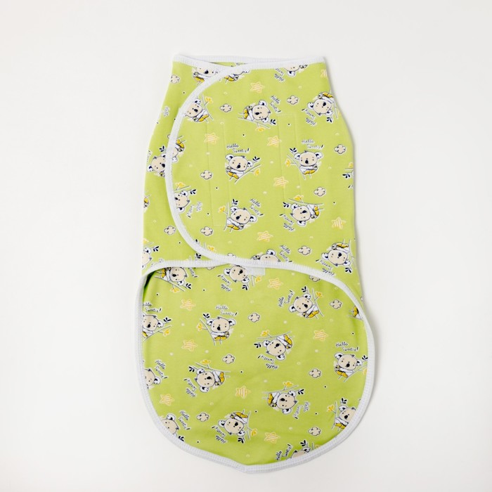 Пеленка-кокон на липучках, интерлок, рост 50-68 см, цвет зеленый, принт микс 1173_М