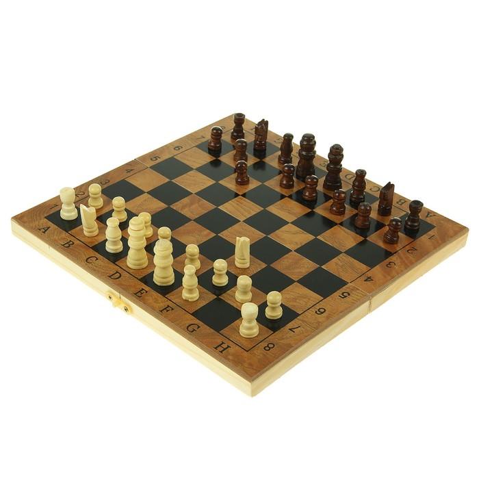 Набор игр 3в1. Нарды (кубик-2шт)+Шахматы пласт+Шашки пласт (d=1,5см) дерево 12х24см  УЦЕНКА