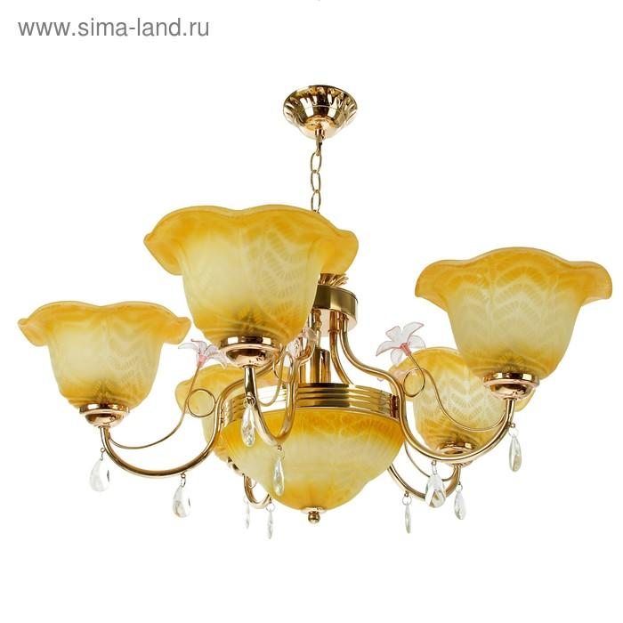 """Люстра """"Янтарь"""" 5+1 лампы E27 60W 70х70х50 см"""