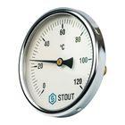 """Термометр STOUT, биметаллический, с погружной гильзой 50 мм 1/2"""", корпус Dn 100 мм"""