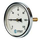 """Термометр STOUT, биметаллический, с погружной гильзой 75 мм 1/2"""", корпус Dn 100 мм"""