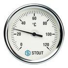 """Термометр STOUT, биметаллический, с погружной гильзой 75 мм 1/2"""", корпус Dn 80 мм"""