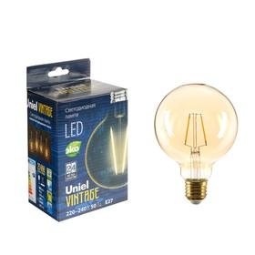 Лампа светодиодная Uniel Vintage, G95, E27, 4 Вт, 230 В, шар, золотистая колба