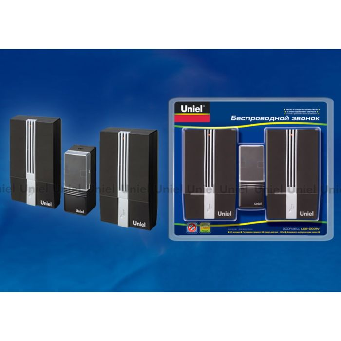 Звонок беспроводной Uniel, UDB-003W-R2T1-32S-100M-BL, черный