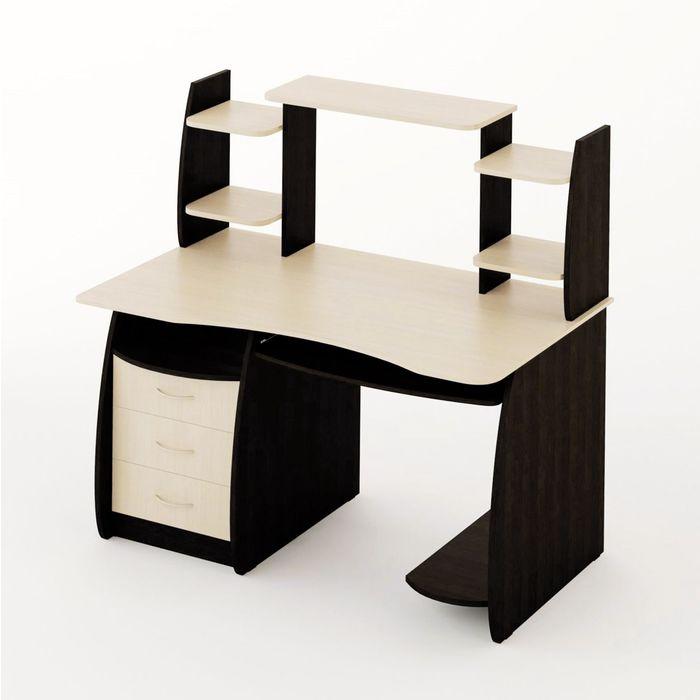 Стол компьютерный Большой 1220х700х1250 Венге темный/Венге светлый